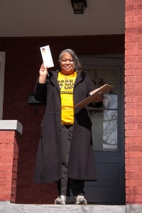 UPMC Worker, Leslie Poston, gathering signatures in the North Side of Pittsburgh