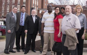 Ron Oakes with a delegation of elected officials, community members, and other UPMC workers.