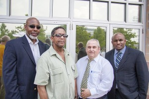 Reverend John Welch, UPMC Worker Al Turner, Senator John Ferlo, and Reverend Rodney Lyde